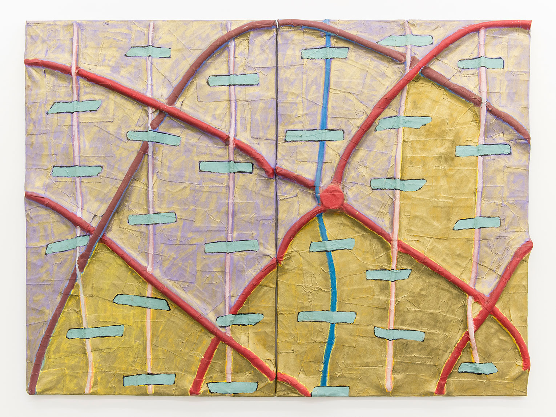 <b>Title:</b>Etagnac<br /><b>Year:</b>1990<br /><b>Medium:</b>Oil, goldwax, plastic, tubing, canvas, and plywood<br /><b>Size:</b>122 x 160 cm