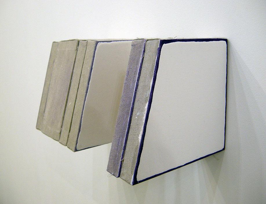 <b>Title:</b>Untitled (Template)<br /><b>Year:</b>2016<br /><b>Medium:</b>Enamel, cobalt violet oil, linen, wood and staples<br /><b>Size:</b>21 x 39 x 22 cm
