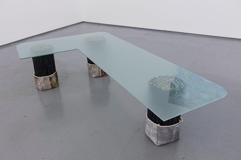 <b>Title:</b>Rockwood Grand<br /><b>Year:</b>2016<br /><b>Medium:</b>Toughened glass, bamboo, and door mats<br /><b>Size:</b>34 x 140 x 80 cm