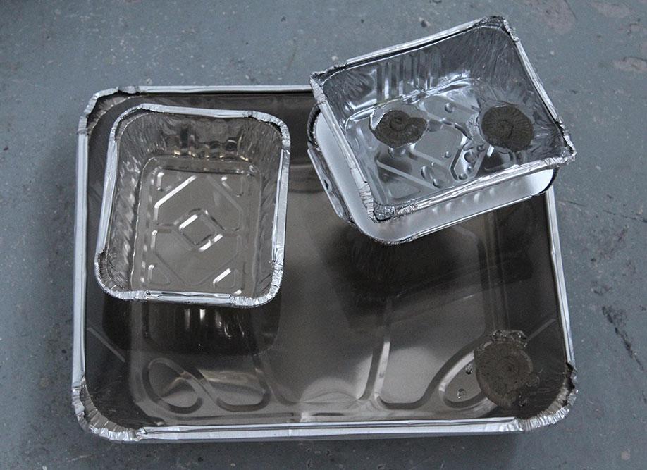 <b>Title:</b>Satintaupe Staying-In<br /><b>Year:</b>2016<br /><b>Medium:</b>Aluminium foil tray, card, jesmonite, perspex, and resin<br /><b>Size:</b>14 x 32 x 26 cm