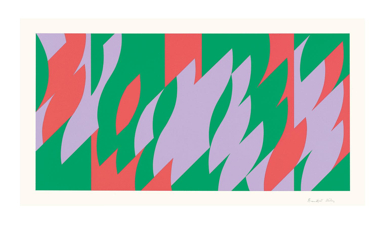 <b>Title:</b>About Lilac<br /><b>Year:</b>2007<br /><b>Medium:</b>Screenprint<br /><b>Size:</b>32.4 x 64.7 cm (image) | 48.9 x 80 cm (sheet) <br> © Bridget Riley 2016. All rights reserved, courtesy Karsten Schubert, London