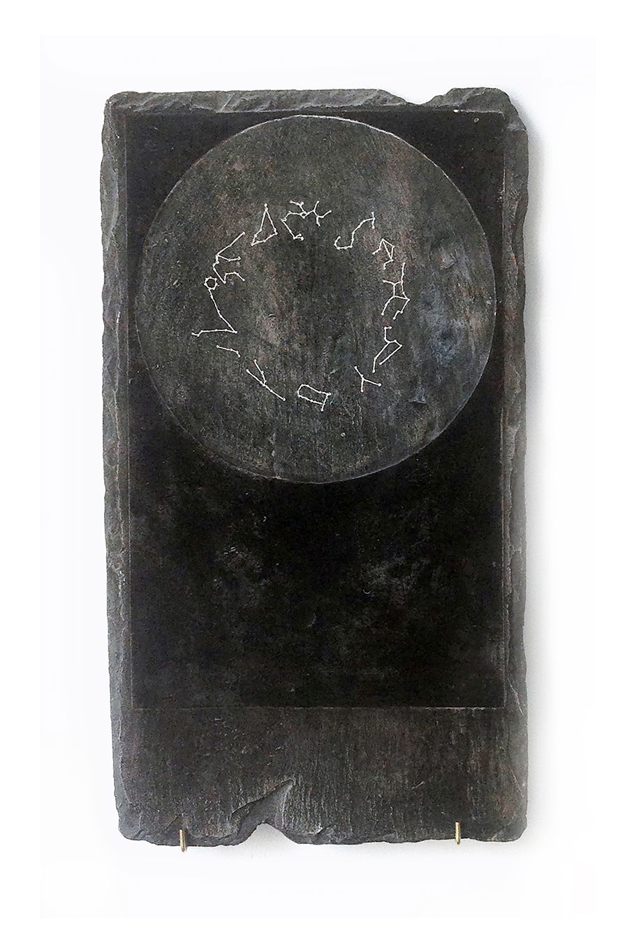 <b>Title: </b>Zodiac (I)<br /><b>Year: </b>2016<br /><b>Medium: </b>Plaster, graphite, oil and metal fixings<br /><b>Size: </b>41 x 23 x 1 cm