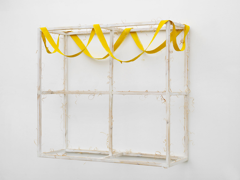 <b>Title:</b>Rectangle with Yellow Ribbon <br /><b>Year:</b>2016<br /><b>Medium:</b>Pine, oil, emulsion and canvas<br /><b>Size:</b>115 x 105 x 45 cm
