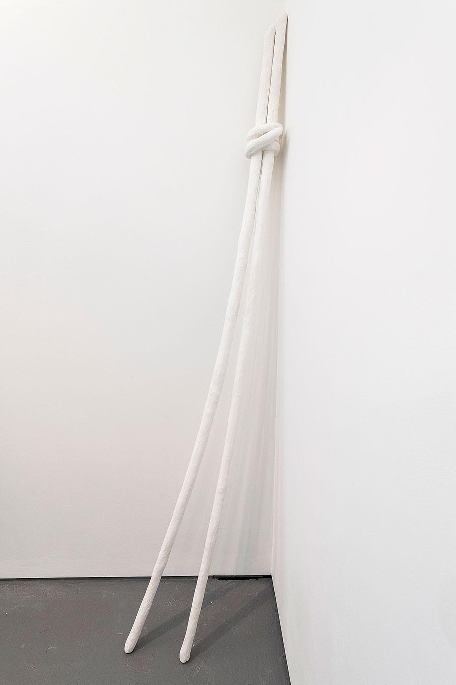 <b>Title:</b>Sticks Around<br /><b>Year:</b>2016<br /><b>Medium:</b>Plaster, hessian, wood and armature wire<br /><b>Size:</b>238cm x 27cm x 15cm