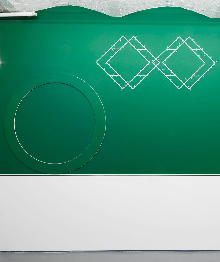 <b>Title:</b>6 Green Circles (6 of 6)<br /><b>Year:</b>2017<br /><b>Medium:</b>Plaster and emulsion<br /><b>Size:</b>Dimensions variable