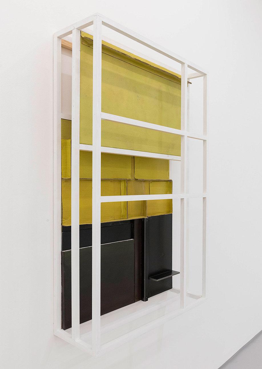 <b>Title:</b>Untitled (Concurrent) 03<br /><b>Year:</b>2015<br /><b>Medium:</b>Acrylic gel, lacquer, vinyl, cardboard, canvas, wood<br /><b>Size:</b>114 x 74 x 24 cm