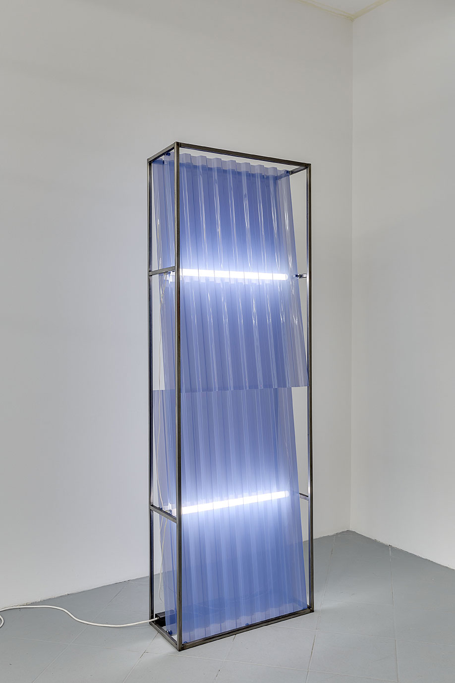 <b>Title: </b>CS02<br /><b>Year: </b>2017<br /><b>Medium: </b>Steel, fluorescent light, PVC corrugated roofing sheets<br /><b>Size: </b>190 x 27 x 64 cm