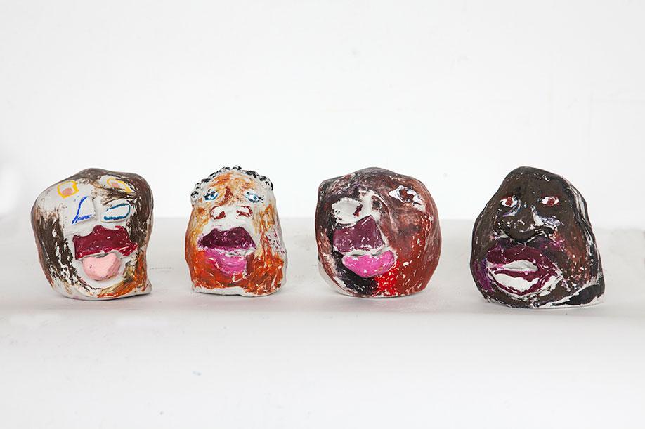 <b>Title:</b>Black Heads<br /><b>Year:</b>2017<br /><b>Medium:</b>Clay, oli pastel and acrylic<br /><b>Size:</b>10 x 9 x 9 cm (each)