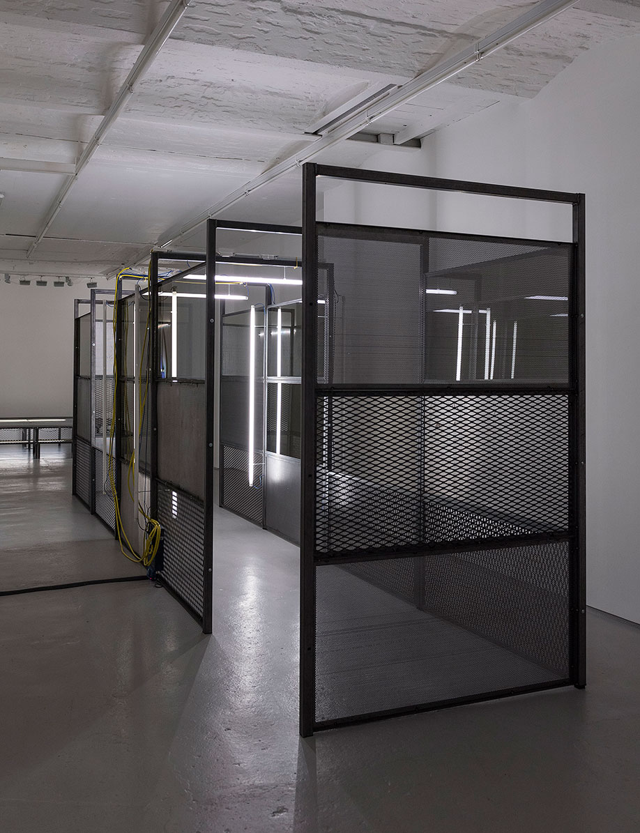 <b>Title: </b>(UN)TOUCHED<br /><b>Year: </b>2017<br /><b>Medium: </b>Steel, coated glass, expanded mesh, perforated steel,  fluorescent light, control system<br /><b>Size: </b> Dimensions variable, in two parts