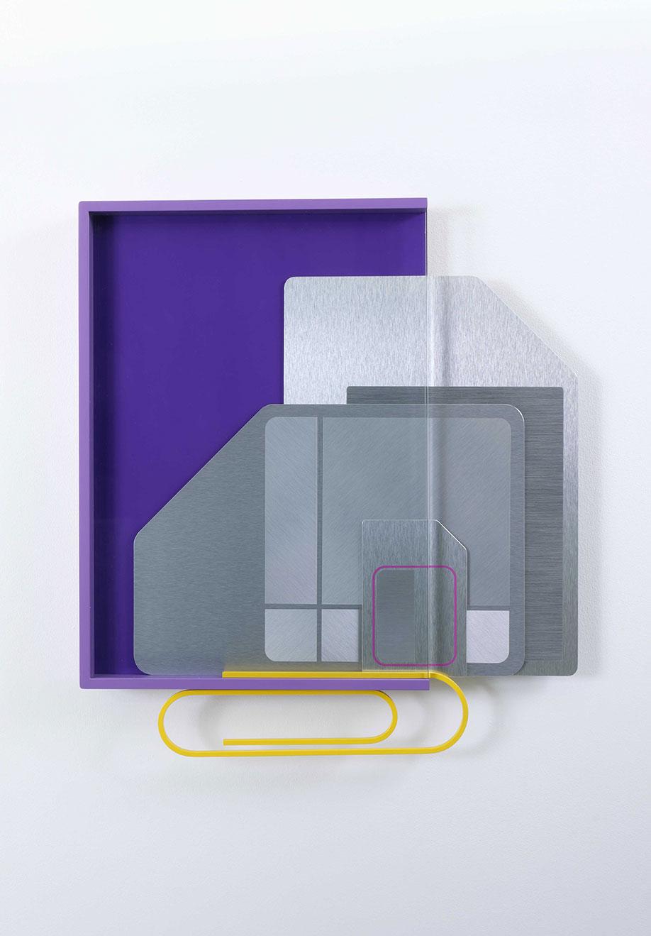 <b>Title:</b>Memories<br /><b>Year:</b>2017<br /><b>Medium:</b>2017 Powder coated aluminium, glass, vinyl, Dibond, bamboo <br /><b>Size:</b>68 cm x 61cm x 6 cm
