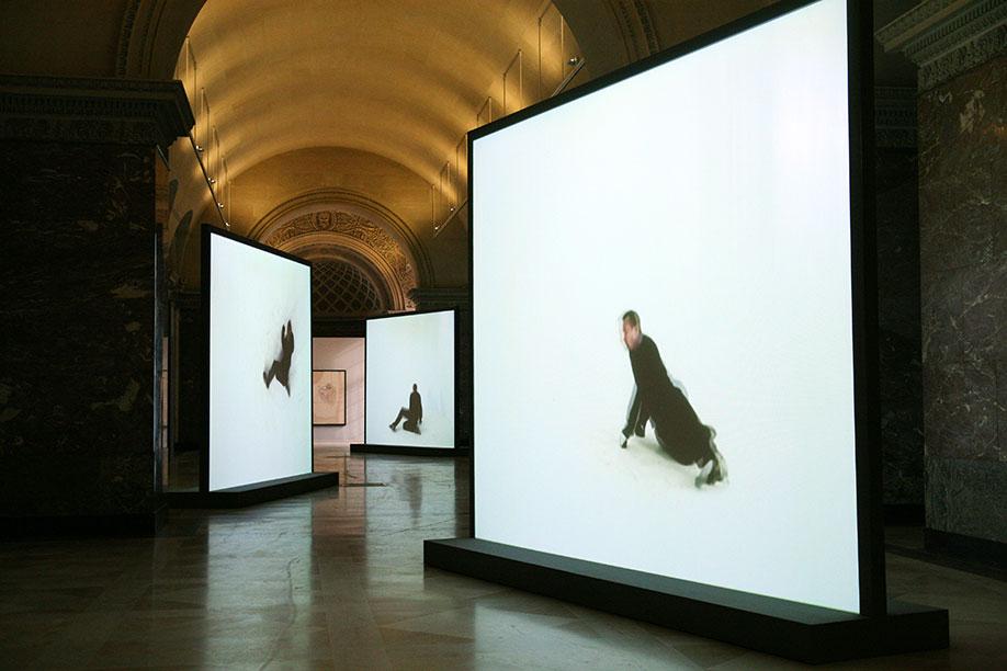 <b>Title:</b>Retranslation | final unfinished portrait (francis bacon) | figure inscribing figure | (take 02) <br /><b>Year:</b>2005<br /><b>Medium:</b>Three channel video installation<br />