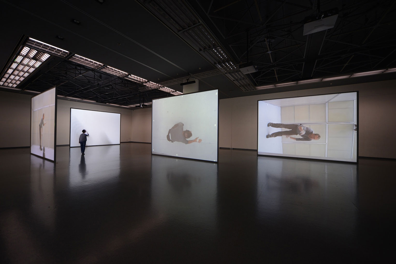 <b>Title:</b>Whenever on on on nohow on | airdrawing<br /><b>Year:</b>2013<br /><b>Medium:</b>Five channel video installation running simultaneously, amplifier, speakers, back projection screens <br /><b>Size:</b>Dimensions variable
