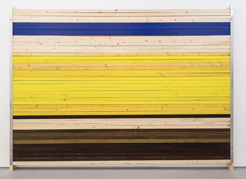 <b>Title:</b>Brown Yellow Blue I<br /><b>Year:</b>2017<br /><b>Medium:</b>Wood, aluminium, pigment, linseed oil<br /><b>Size:</b>216 x 305 x 8.5 cm