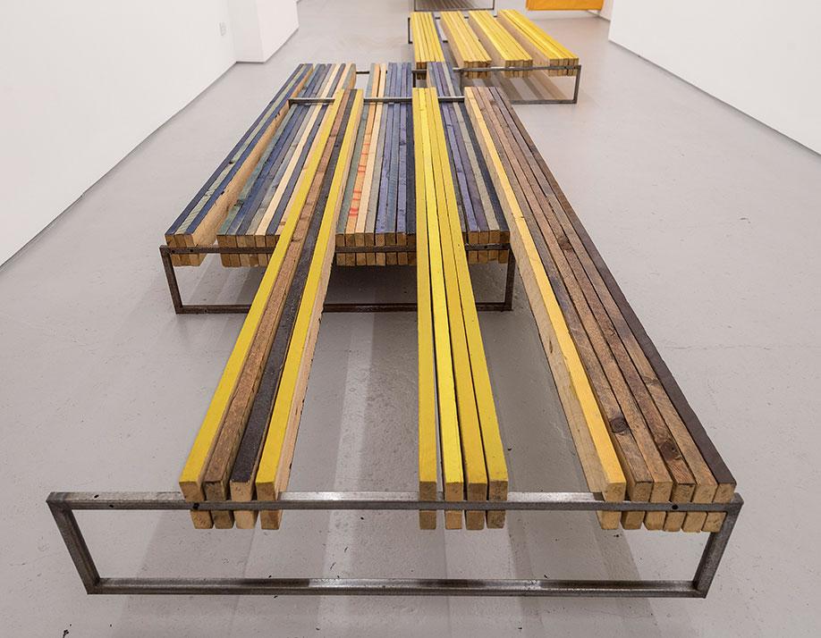 <b>Title:</b>Brown Yellow Blue II<br /><b>Year:</b>2017<br /><b>Medium:</b>Wood, steel, pigment, linseed oil<br /><b>Size:</b>32.5 x 573 x 170 cm