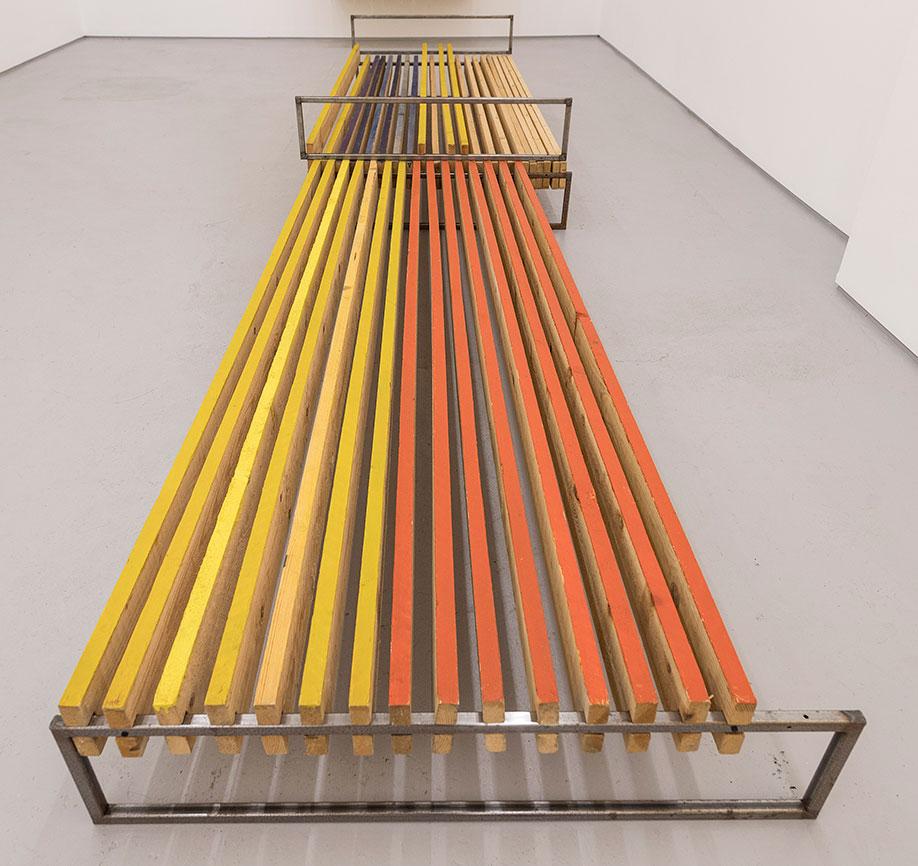 <b>Title:</b>Brown Yellow Blue III<br /><b>Year:</b>2017<br /><b>Medium:</b>Wood, steel, pigment, linseed oil<br /><b>Size:</b>48.5 x 477 x 105 cm