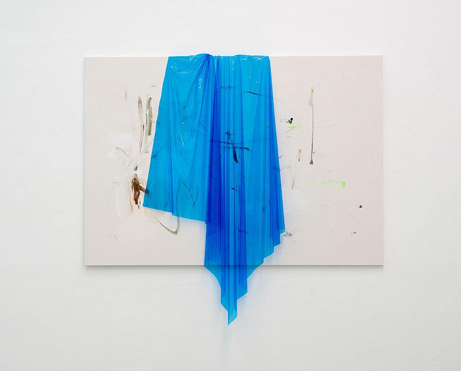 <b>Title:</b>170802<br /><b>Year:</b>2017<br /><b>Medium:</b>Acrylic, lacquer, spray paint, PE  lm on canvas<br /><b>Size:</b>158 x 185 cm
