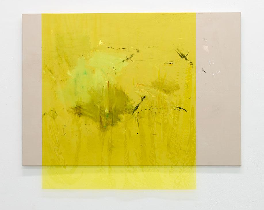 <b>Title:</b>170803<br /><b>Year:</b>2017<br /><b>Medium:</b>Acrylic, lacquer, spray-paint, PE film on canvas<br /><b>Size:</b>143 x 185 cm