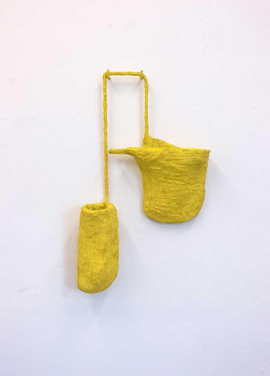 <b>Title:</b>Air Pocket (Yellow)<br /><b>Year:</b>2018<br /><b>Medium:</b>Steel, chicken wire, newspaper, glue, paint, plaster, hooks<br /><b>Size:</b>80 x 53 x 17 cm