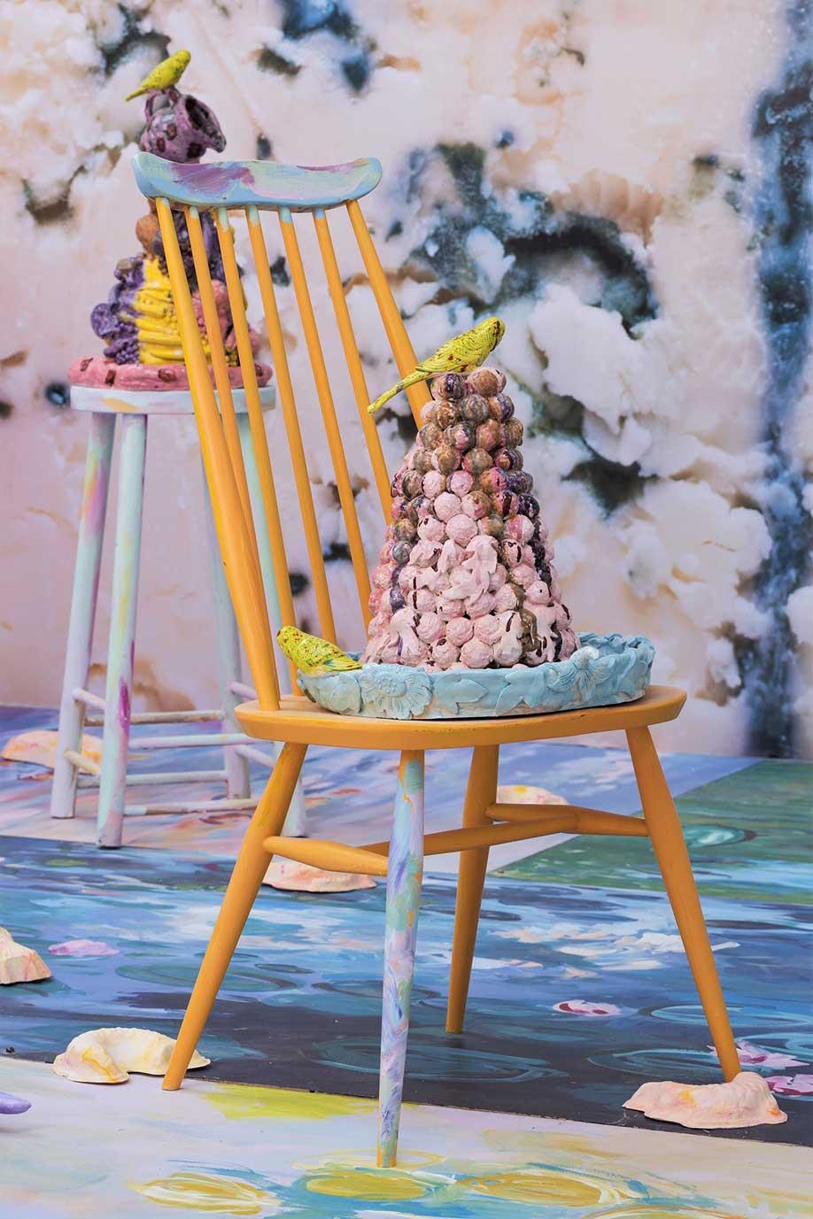 <b>Title:</b>Clever Girl (detail)<br /><b>Year:</b>2017<br /><b>Medium:</b>Ceramic installation<br />