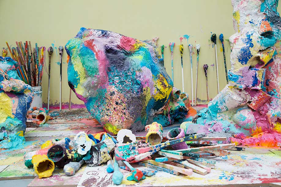 <b>Title: </b>Work It<br /><b>Year: </b>2017<br /><b>Medium: </b>Jesmonite, plaster, concrete, clay, marble dust, PVA, foam, paint, pigment, cardboard, MDF, plasterboard, melamine, objects from the studio including mixing cups, mixing sticks, bucket, scissors, pencils, phone case, paint pots and brushes.<br />