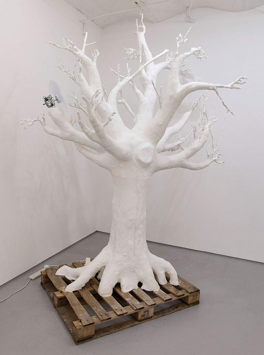 <b>Title: </b>The Wind Continues To Blow And I Don't Wanna Leave [Maquette for Bronze]<br /><b>Year: </b>2018<br /><b>Medium: </b>Painted Plaster of Paris, electronics, and polythene bag<br /><b>Size: </b>242 x 170 x 68 cm