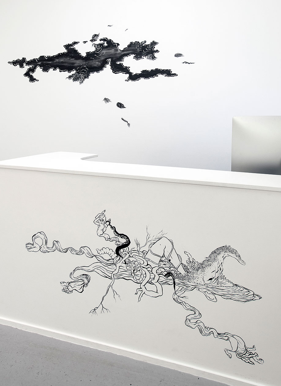 <b>Title: </b>Carrierborne<br /><b>Year: </b>2018<br /><b>Medium: </b>Mural, Chinese ink on wall<br /><b>Size: </b>Dimensions Variable