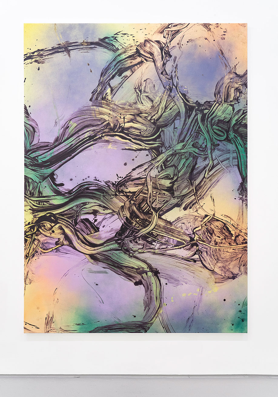 <b>Title:</b>Sharp and Soon<br /><b>Year:</b>2018<br /><b>Medium:</b>Acrylic and oil on canvas<br /><b>Size:</b>210 x 155 cm
