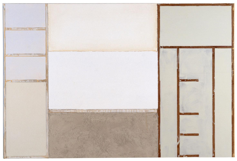 <b>Title:</b>Eastham With Me <br /><b>Year:</b>2001<br /><b>Medium:</b>Household enamel paint, sand, wallboard compound, gypsum wallboard, steel corner bead, wood frame<br /><b>Size:</b>120 x 180 cm