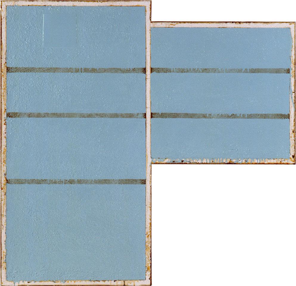 <b>Title:</b>The Essential Finn<br /><b>Year:</b>2001<br /><b>Medium:</b>Household enamel paint, sand, wallboard compound, gypsum wallboard, steel corner bead, wood frame<br /><b>Size:</b>112 x 116 cm