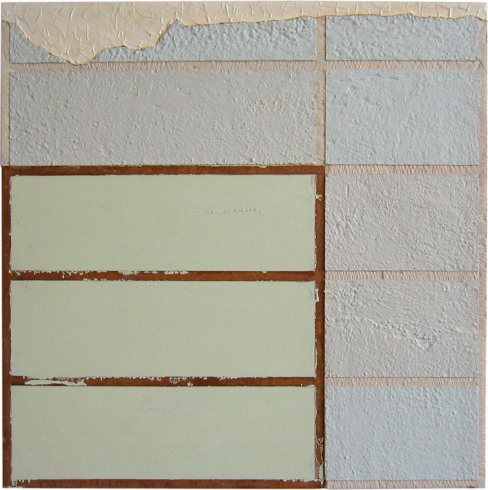 <b>Title:</b>Thursday 7:30<br /><b>Year:</b>2001<br /><b>Medium:</b>CK_M_1805 Thursday 7:30, 2001 Household enamel paint, sand, wallboard compound, gypsum wallboard, steel corner bead, wood frame<br /><b>Size:</b>90 x 90 cm