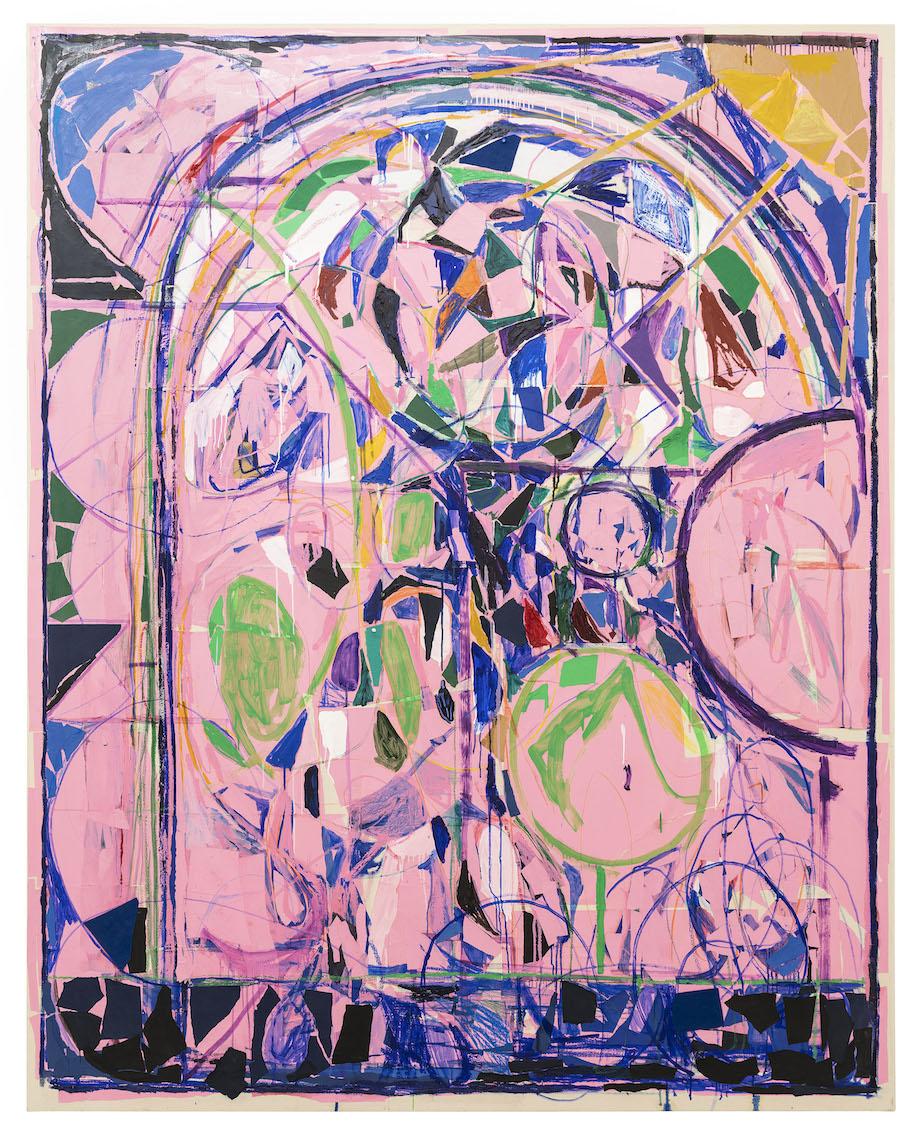 <b>Title:</b>Portrait Pink<br /><b>Year:</b>2018<br /><b>Medium:</b>Oil paint, oil stick, wax crayon, coloured pencil, felt, pins and paper collage on canvas<br /><b>Size:</b>250 x 200 cm