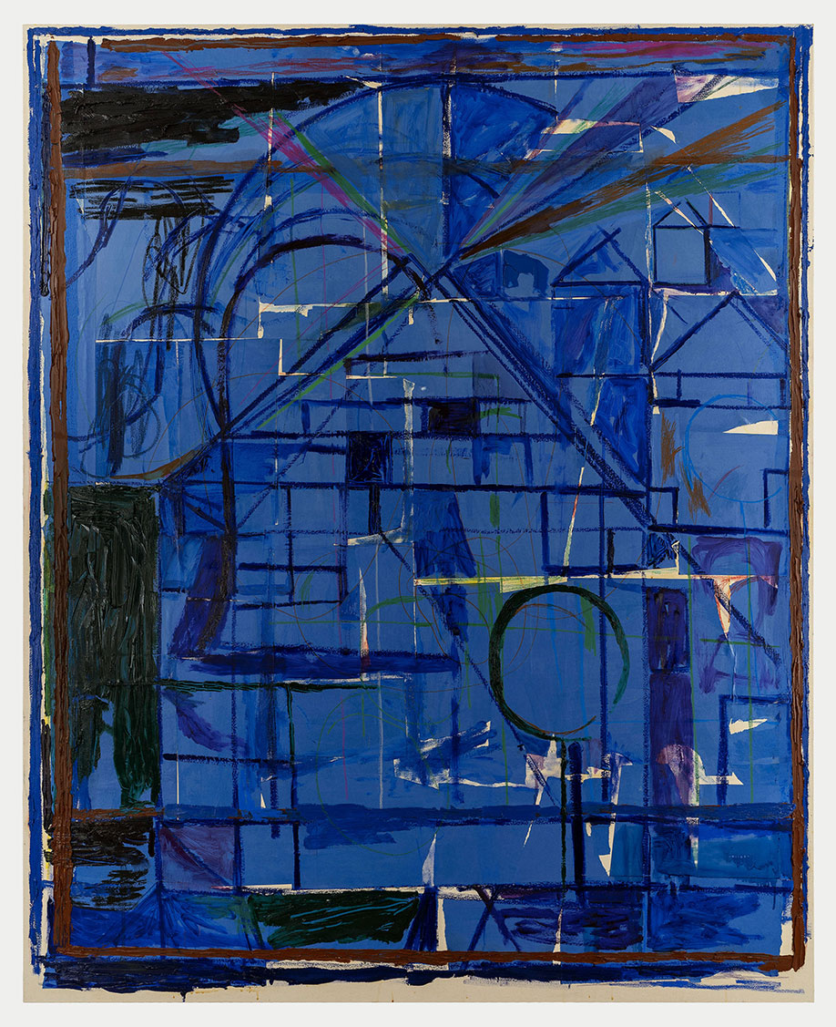 <b>Title:</b>Landscape With Houses (Blue)<br /><b>Year:</b>2018<br /><b>Medium:</b>Oil Paint, oil stick, oil pastel, wax crayon and paper collage on canvas<br /><b>Size:</b>210 x 170 cm