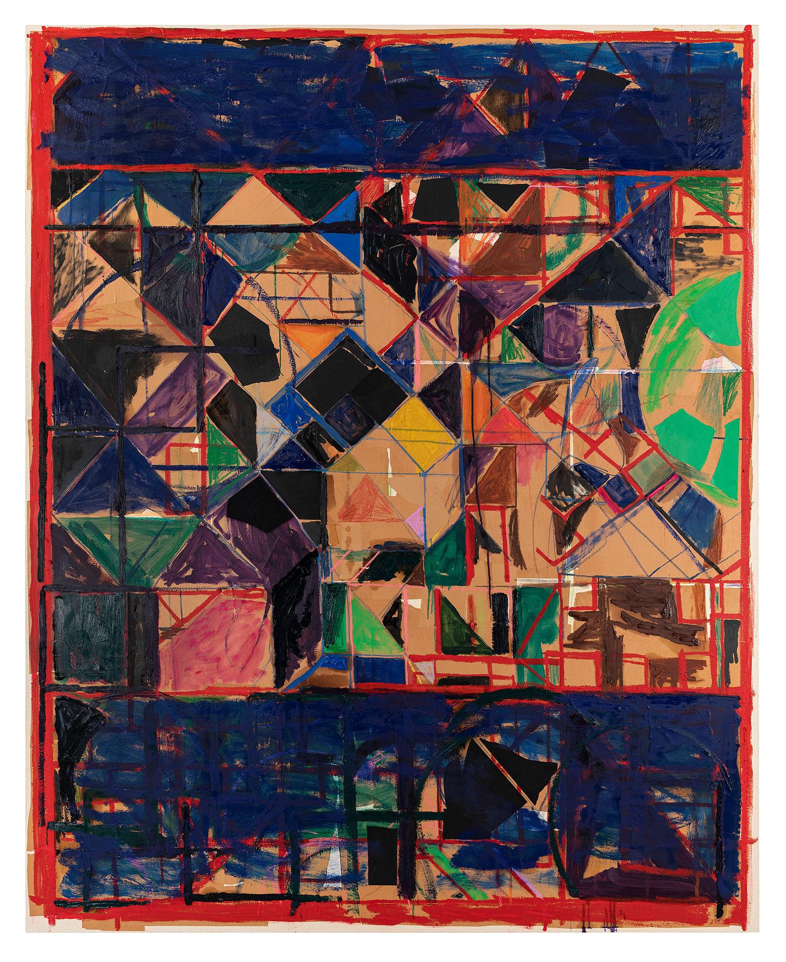 <b>Title:</b>Vista (Brown)<br /><b>Year:</b>2018<br /><b>Medium:</b>Oil Paint, oil stick, oil pastel, wax crayon, paper and felt on canvas<br /><b>Size:</b>210 x 170 cm