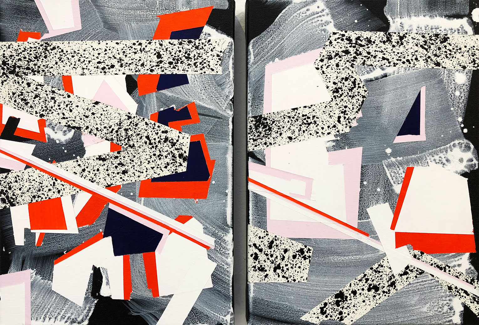 <b>Title: </b>Will Sprawl <br /><b>Year: </b>2019<br /><b>Medium: </b>Acrylic and spray paint on canvas<br /><b>Size: </b>50 x 35 x 4 cm (Diptych)