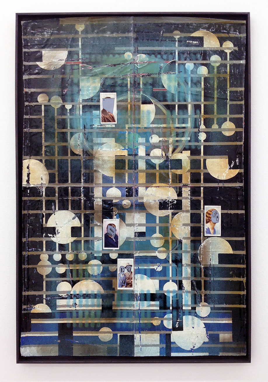 <b>Title: </b>CITY LIMITS<br /><b>Year: </b>2019<br /><b>Medium: </b>enamel, acrylic, varnish, ink and cigarette cards in graphite and pine frame<br /><b>Size: </b>26.5 x 51 x 2 cm