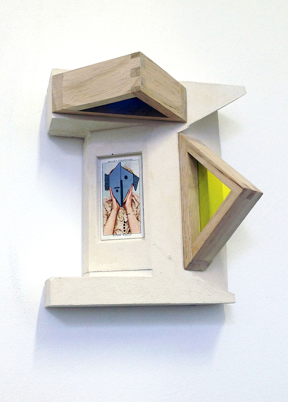 <b>Title: </b>CONSTRUCTION X<br /><b>Year: </b>2019<br /><b>Medium: </b>Plaster, Perspex and cigarette card<br /><b>Size: </b>18 x 16 x 11cm