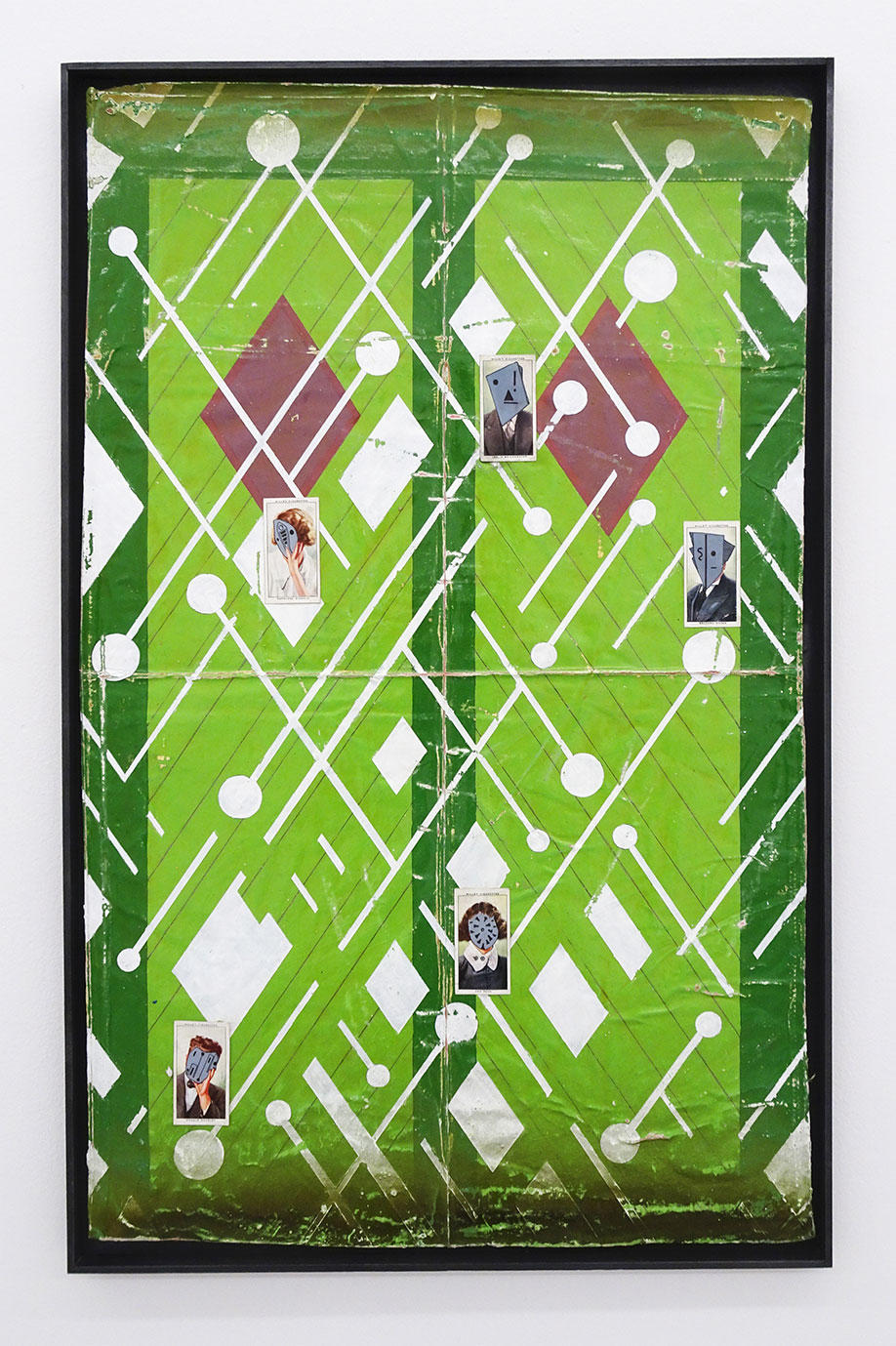 <b>Title: </b>FOND FAREWELL<br /><b>Year: </b>2019<br /><b>Medium: </b>enamel, acrylic, varnish, ink and cigarette cards in graphite and pine frame<br /><b>Size: </b>76.5 x 48.5 2cm
