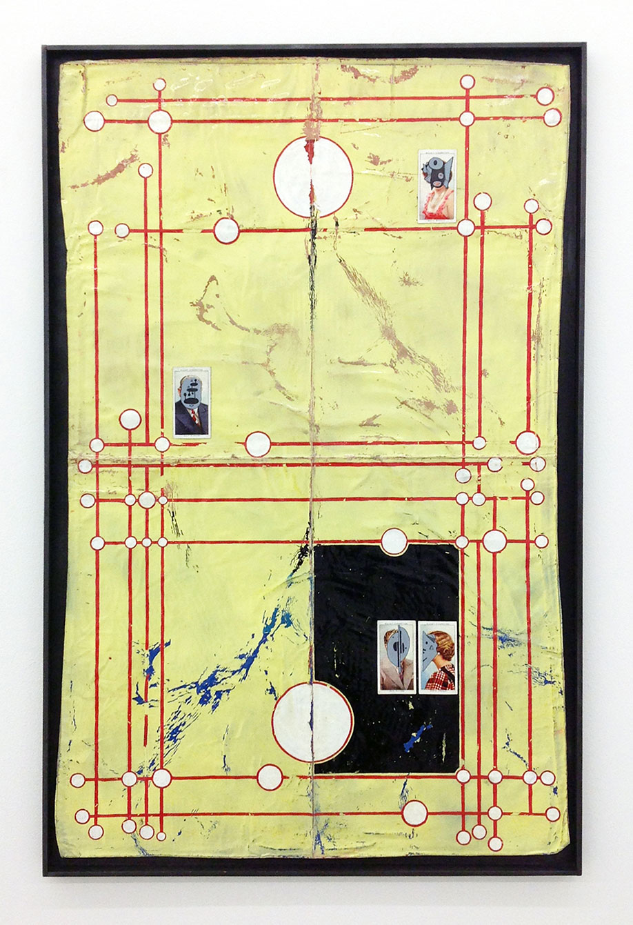 <b>Title: </b>JOURNEYS END<br /><b>Year: </b>2019<br /><b>Medium: </b>enamel, acrylic, varnish, ink and cigarette cards in graphite and pine frame<br /><b>Size: </b>76.5 x 50 x 2cm