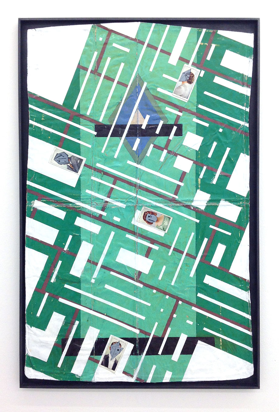 <b>Title: </b>METROPOLIS<br /><b>Year: </b>2019<br /><b>Medium: </b>enamel, acrylic, varnish, ink and cigarette cards in graphite and pine frame<br /><b>Size: </b>76.5 x 51 x 2 cm