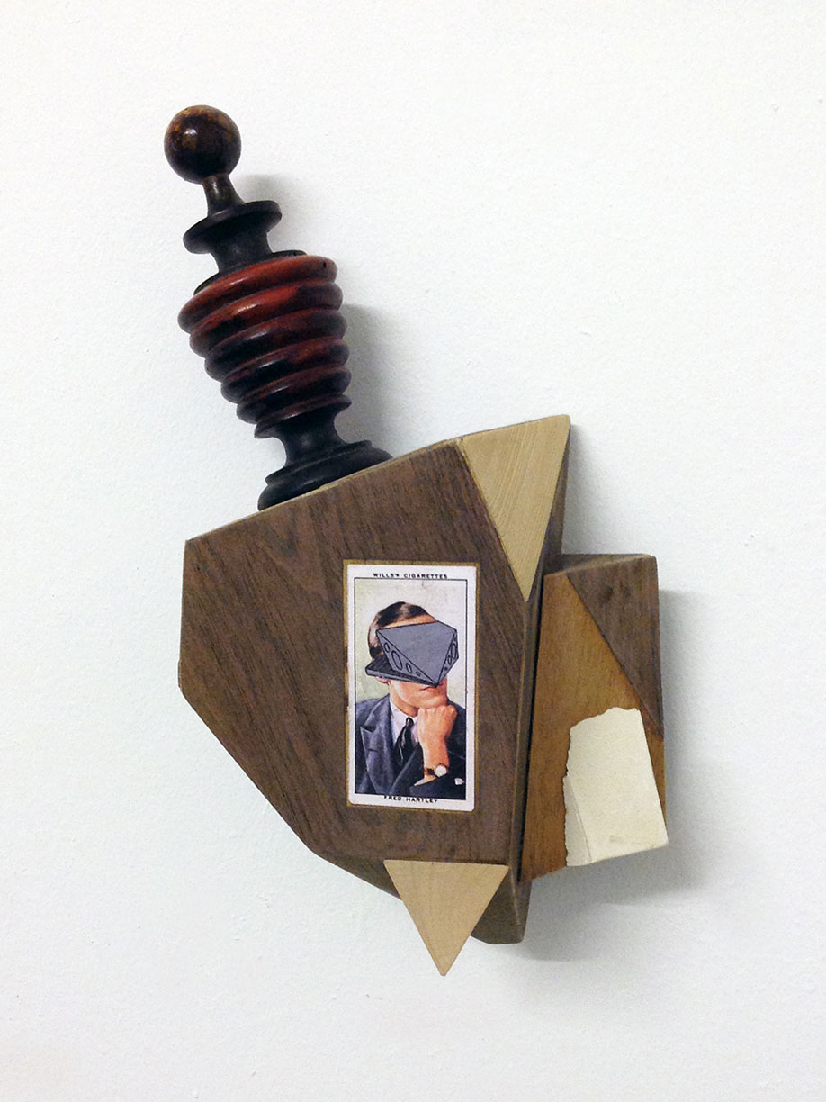 <b>Title: </b>SATELLITE HEADPHASE<br /><b>Year: </b>2019<br /><b>Medium: </b>oak, pine, teak, veneer, acrylic, varnish and cigarette card<br /><b>Size: </b>27 x 15 x 9cm