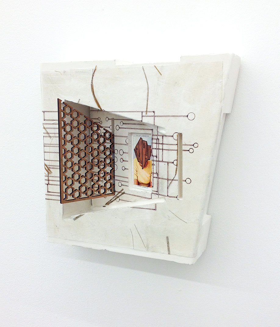 <b>Title: </b>THE TOURIST<br /><b>Year: </b>2019<br /><b>Medium: </b>Plaster, paper, wood, ink and cigarette card<br /><b>Size: </b>22 x 24 x 10cm