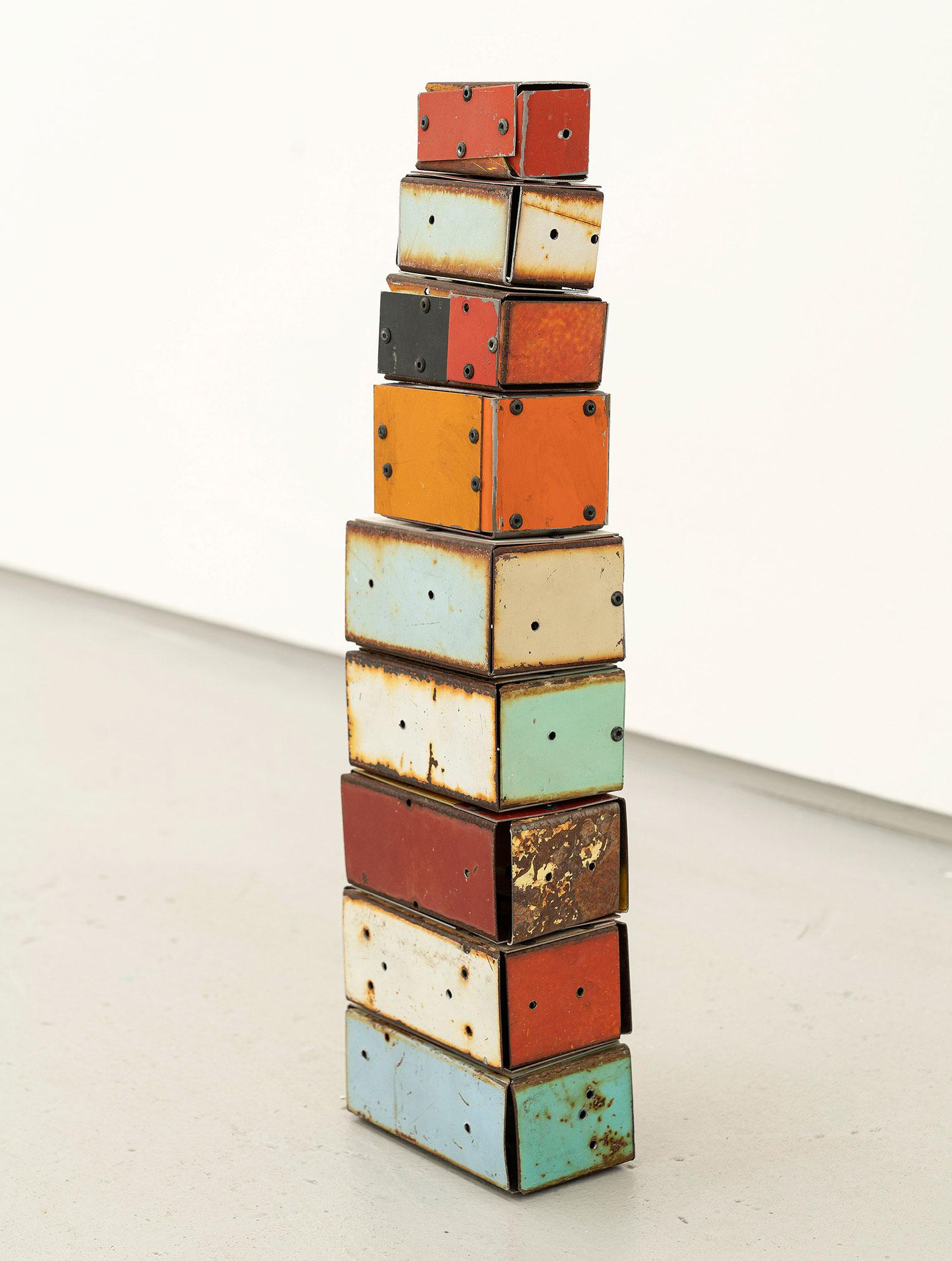 <b>Title:</b>Boxed Up<br /><b>Year:</b>2019<br /><b>Medium:</b>Salvage steel, rivets, welded plinth<br /><b>Size:</b>46 x 15 x 7 cm