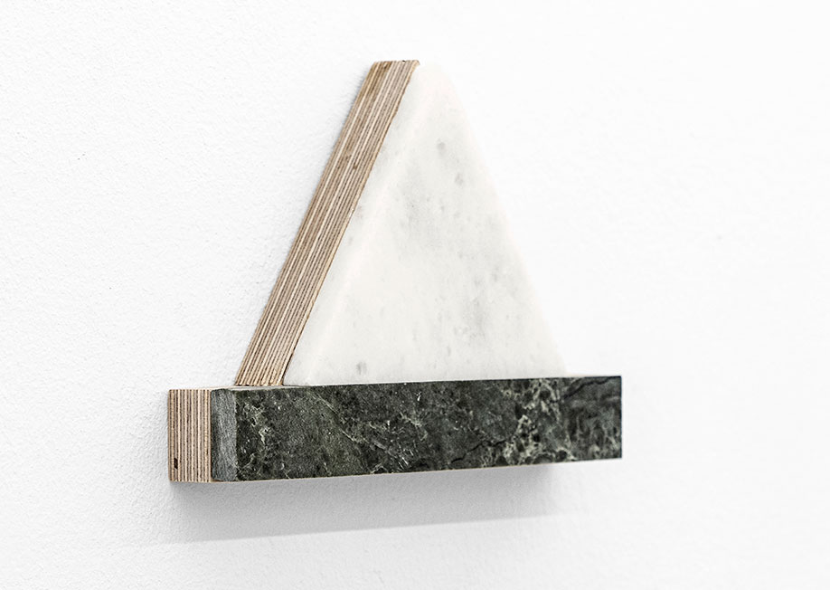 <b>Title: </b>soundless damage<br /><b>Year: </b>2019<br /><b>Medium: </b>Marble and birch plywood<br /><b>Size: </b>15.2 x 11.5 x 2.8 cm