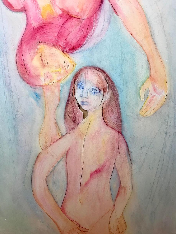 <b>Title:</b>Alexis Lee<br>Encountering Mercurius<br /><b>Year:</b>2020<br /><b>Medium:</b>Acrylic & oil pastel on canvas<br /><b>Size:</b>100 x 76 x 4 cm