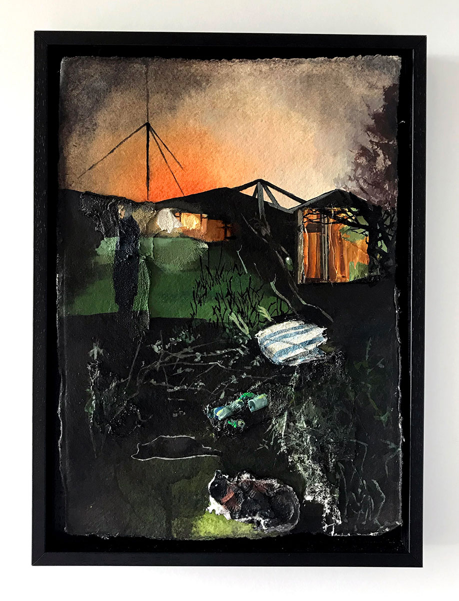 <b>Title:</b>Beth Horner<br>Thresholds<br /><b>Year:</b>2020<br /><b>Medium:</b>Acrylic & plaster strips on paper, mounted on wood<br /><b>Size:</b>21 x 30 cm