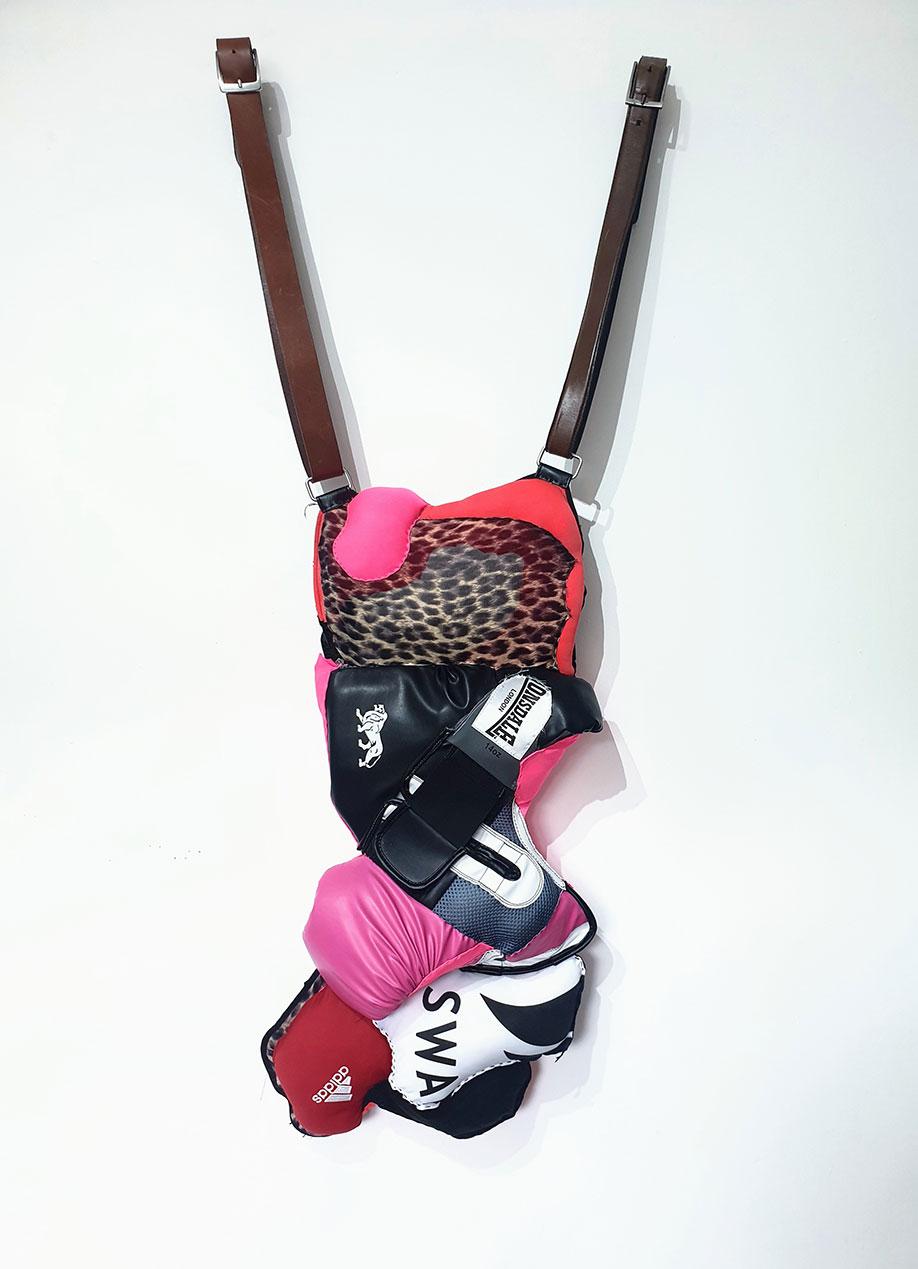 <b>Title:</b>Ellie Dragone<br>BeltUp<br /><b>Year:</b>2020<br /><b>Medium:</b>Stitched boxing gloves, sportswear and clothing<br /><b>Size:</b>120 x 45 cm