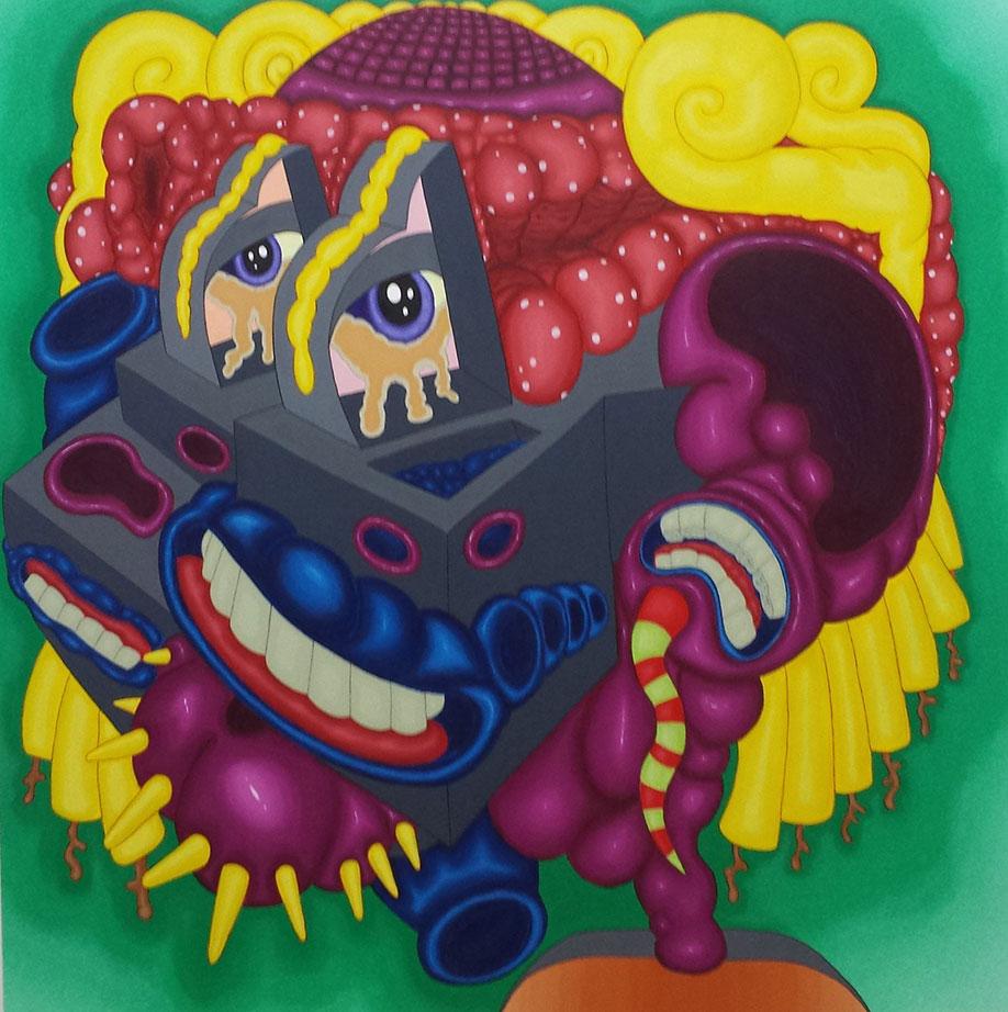 <b>Title:</b>silasrevinU omoH<br /><b>Year:</b>2020<br /><b>Medium:</b>Acrylic & Marker pen on canvas<br /><b>Size:</b>150 x 150 cm