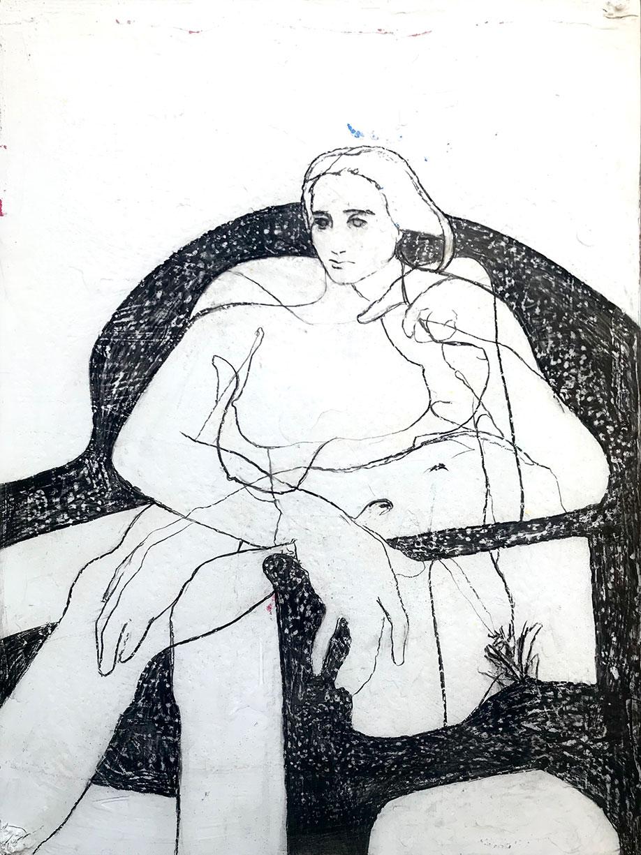 <b>Title:</b>Gianna Dispense<br>Viewpoint Study<br /><b>Year:</b>2020<br /><b>Medium:</b>Charcoal on plaster panel<br /><b>Size:</b>100 x 75 cm