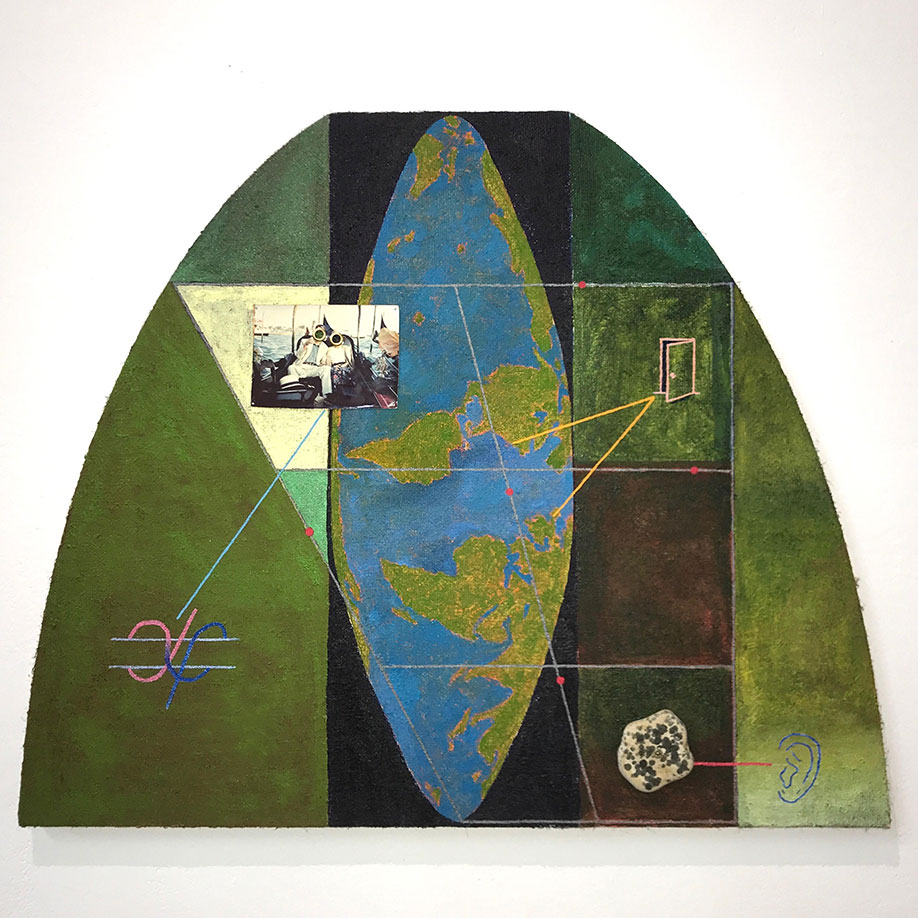 <b>Title: </b>Kenneth Winterschladen<br>World Projection 1993-2018<br /><b>Year: </b>2020<br /><b>Medium: </b>Oil, photograph, rommets, rock, screw, nails on jute over panel<br /><b>Size: </b>53.5 x 65 cm