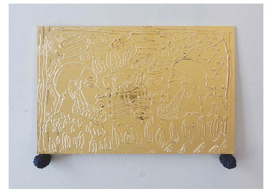 <b>Title:</b>Leon Pozniakow<br>Bethnal Green, 2014<br /><b>Year:</b>2020<br /><b>Medium:</b>Glass, 24ct gold leaf, Jesmonite, Laquer <br /><b>Size:</b>31 x 23 x 4 cm